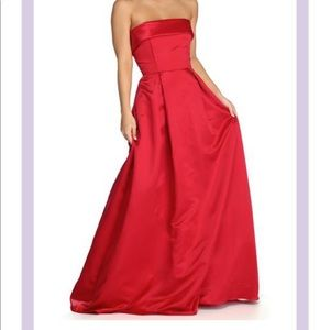 Red satin formal dress NWT